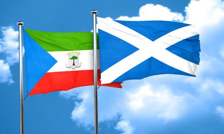equatorial: Equatorial guinea flag with Scotland flag, 3D rendering