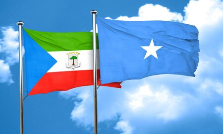 somalian culture: Equatorial guinea flag with Somalia flag, 3D rendering Stock Photo