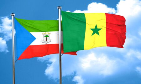 equatorial: Equatorial guinea flag with Senegal flag, 3D rendering Stock Photo