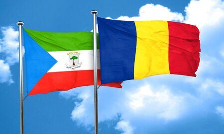 equatorial: Equatorial guinea flag with Romania flag, 3D rendering Stock Photo