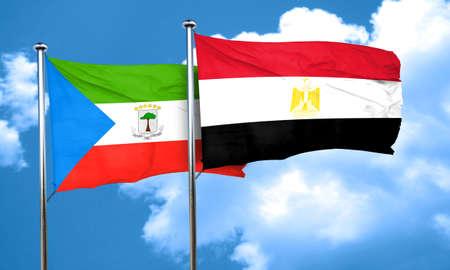 egypt flag: Equatorial guinea flag with egypt flag, 3D rendering