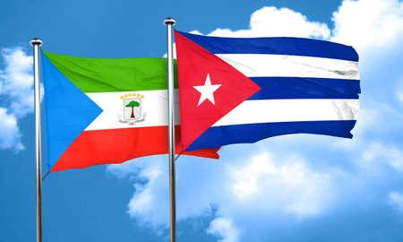 cuba flag: Equatorial guinea flag with cuba flag, 3D rendering