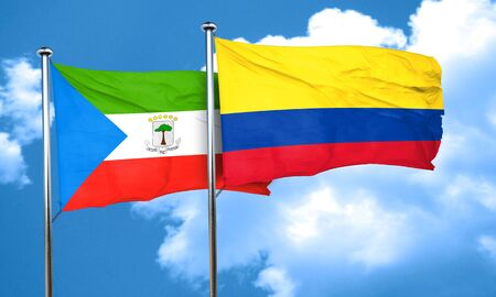 equatorial: Equatorial guinea flag with Colombia flag, 3D rendering Stock Photo