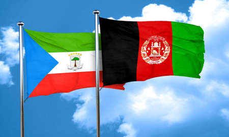 afghanistan flag: Equatorial guinea flag with afghanistan flag, 3D rendering