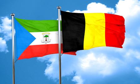 equatorial: Equatorial guinea flag with Belgium flag, 3D rendering