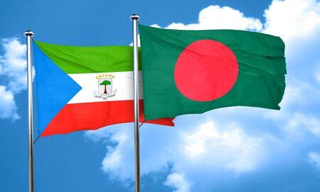 bangladesh: Equatorial guinea flag with Bangladesh flag, 3D rendering Stock Photo