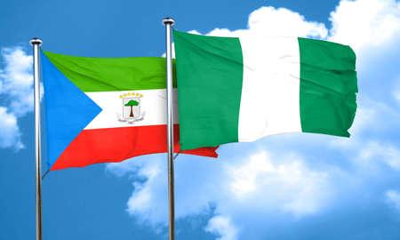equatorial: Equatorial guinea flag with Nigeria flag, 3D rendering