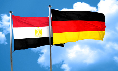 egypt flag: Egypt flag with Germany flag, 3D rendering