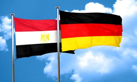 egypt flag: Egypt flag with Germany flag, 3D rendering