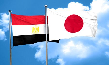 flag of egypt: Egypt flag with Japan flag, 3D rendering Stock Photo