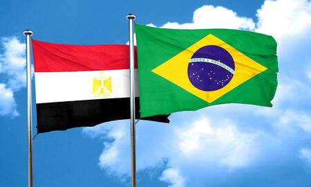 egypt flag: Egypt flag with Brazil flag, 3D rendering Stock Photo