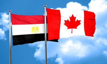 egypt flag: Egypt flag with Canada flag, 3D rendering