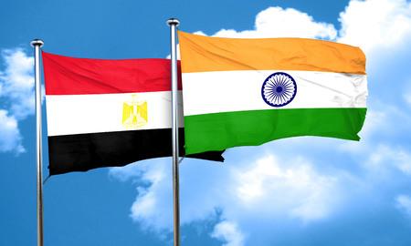 egypt flag: Egypt flag with India flag, 3D rendering Stock Photo