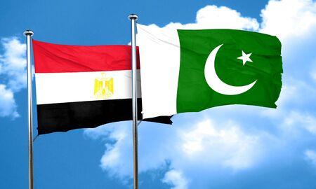 bandera egipto: bandera de Egipto con la bandera de Pakistán, 3D
