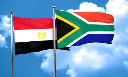 egypt flag: Egypt flag with South Africa flag, 3D rendering Stock Photo