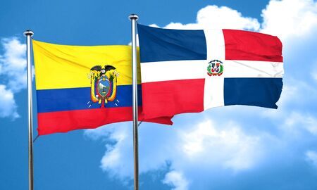 republic of ecuador: Ecuador flag with Dominican Republic flag, 3D rendering