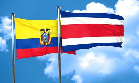 rican: Ecuador flag with Costa Rica flag, 3D rendering