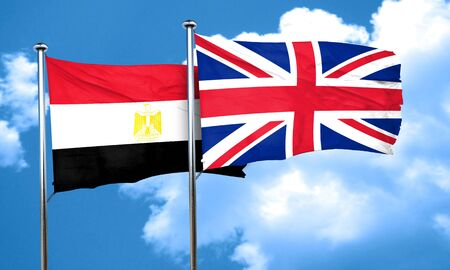 great britain flag: Egypt flag with Great Britain flag, 3D rendering