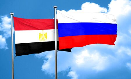 egypt flag: Egypt flag with Russia flag, 3D rendering