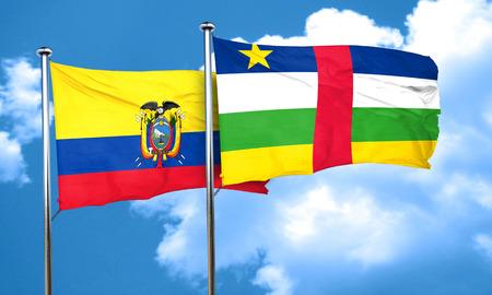 republic of ecuador: Ecuador flag with Central African Republic flag, 3D rendering