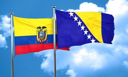herzegovina: Ecuador flag with Bosnia and Herzegovina flag, 3D rendering