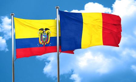 ecuador: Ecuador flag with Romania flag, 3D rendering Stock Photo
