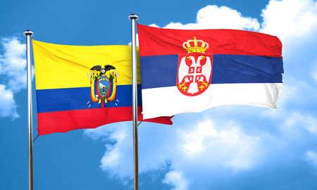 serbia flag: Ecuador flag with Serbia flag, 3D rendering