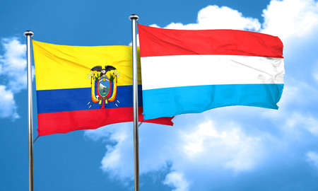 luxembourg: Ecuador flag with Luxembourg flag, 3D rendering