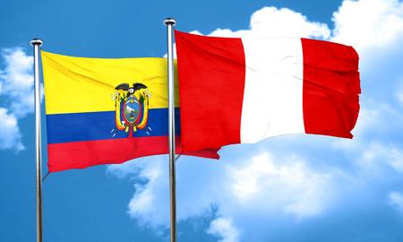 bandera de peru: bandera de Ecuador con la bandera de Perú, 3D