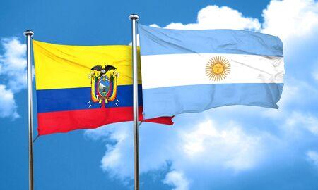 argentine: Ecuador flag with Argentine flag, 3D rendering Stock Photo