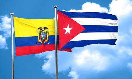 cuba flag: Ecuador flag with cuba flag, 3D rendering