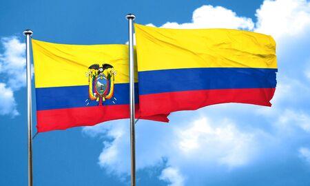 bandera de colombia: bandera de Ecuador con la bandera de Colombia, 3D