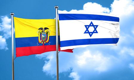 ecuador: Ecuador flag with Israel flag, 3D rendering