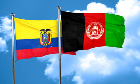 Ecuador flag with afghanistan flag, 3D rendering Stock Photo