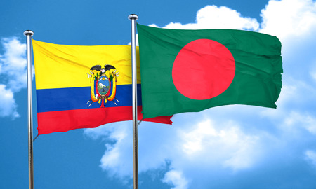 bangladesh: Ecuador flag with Bangladesh flag, 3D rendering