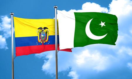 flag of pakistan: Ecuador flag with Pakistan flag, 3D rendering