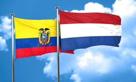ecuador: Ecuador flag with Netherlands flag, 3D rendering Stock Photo