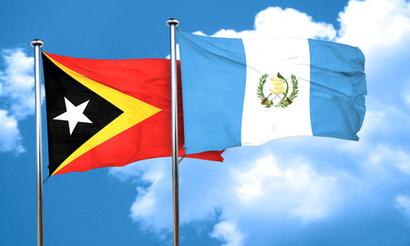 flag of guatemala: east timor flag with Guatemala flag, 3D rendering