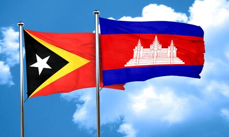 cambodian flag: east timor flag with Cambodia flag, 3D rendering Stock Photo