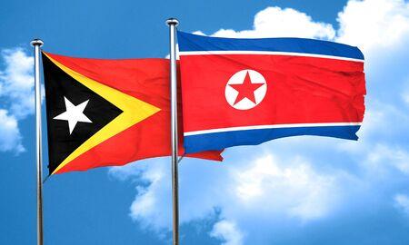 korea flag: east timor flag with North Korea flag, 3D rendering