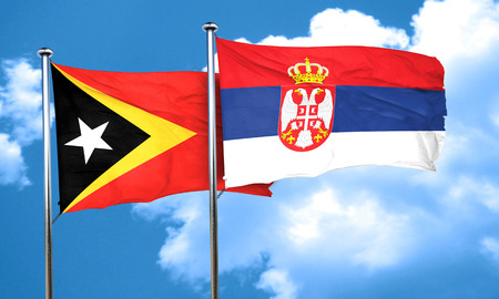 serbia flag: east timor flag with Serbia flag, 3D rendering