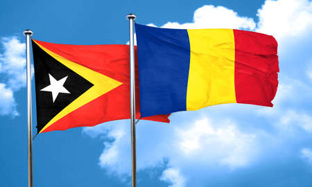 romania flag: east timor flag with Romania flag, 3D rendering