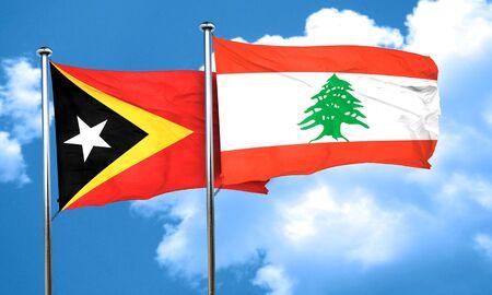 lebanon: east timor flag with Lebanon flag, 3D rendering