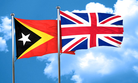 east: east timor flag with Great Britain flag, 3D rendering
