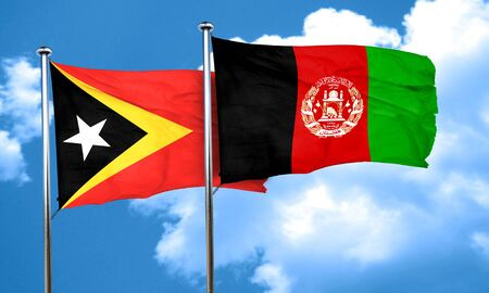 east timor flag with afghanistan flag, 3D rendering Stock Photo