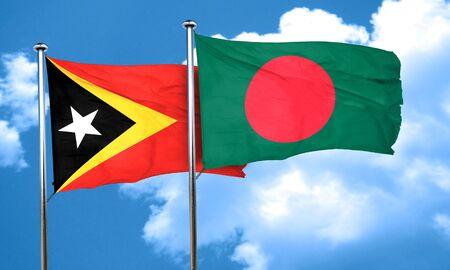 bangladesh: east timor flag with Bangladesh flag, 3D rendering Stock Photo