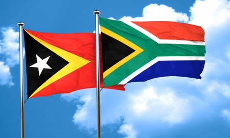 timor: east timor flag with South Africa flag, 3D rendering