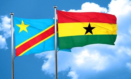 amity: Democratic republic of the congo flag with Ghana flag, 3D rendering