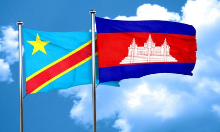 cambodian flag: Democratic republic of the congo flag with Cambodia flag, 3D rendering
