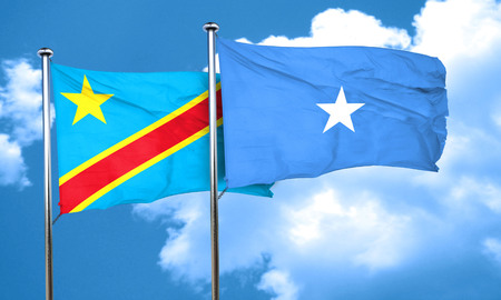 somalian culture: Democratic republic of the congo flag with Somalia flag, 3D rendering